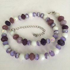 Beaded choker short purple white necklace by BarbsBeadedJewelry