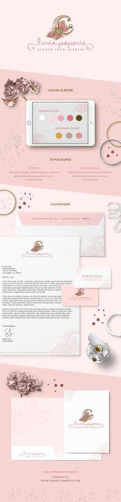 Luna Paperie Wedding Boutique Branding Design, Romantic, Feminine, Letterhead, Business Card, Logo Design,