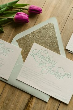 NICOLE Suite Glitter Package, mint and gold, glitter wedding invitations, script wedding font, letterpress wedding invitations, http://justinviteme.com/collections/styled-collections/products/nicole-suite-glitter-package