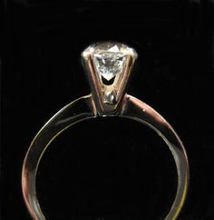 Sterling Silver Avon Solitaire Ring Clear Stone Size 6 by Elsewind, $30.00