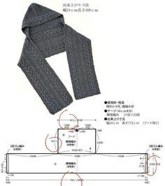Hooded Scarf Pattern, Crochet Hooded Scarf, Crochet Scarves, Crochet Clothes, Chunky Knitting Patterns, Loom Knitting, Crochet Patterns, Crochet Cardigan Pattern, Crochet Shawl
