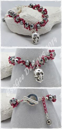 Bracelet - crystals with chain and skull charm