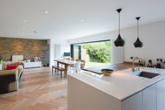 Contemporary kitchen extension with bifold doors in East Molesey Kitchen Layout, Kitchen Design, Kitchen Ideas, Kitchen Units, Kitchen Island, Kitchen Extension With Bifold Doors, Open Plan Kitchen Living Room, Dining Room, Modern Master Bedroom