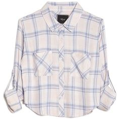 Rails Rian Two Pocket Flannel Top ($132) ❤ liked on Polyvore featuring tops, shirts, camisas, pink flannel shirt, three quarter sleeve shirts, 3/4 sleeve crop top, blue flannel shirt and 3/4 length sleeve tops