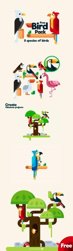 Free Bird Illustration Pack  /Volumes/cifsdata2$/_MOM/Design Freebies/Free Design Resources/Free-Bird-Illustration-Pack_Formas-Estudio_140917