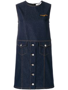 Купить MSGM sleeveless denim shift dress.