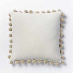 Jay Street Ashti Pom Pom Pillow Cover - Ivory | west elm