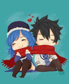 Gray and Juvia, with the infamous Gruvia scarf from the Gruvia special 413 Days (summer days anime) Fairy Tail Juvia, Fairy Tail Gray, Fairy Tail Ships, Fairy Tail Anime, Manga, Juvia And Gray, Gruvia, Fairytail, Fairy Tail Guild