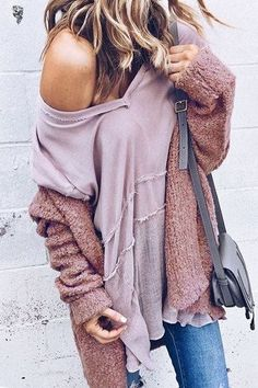 Love this casual comfy outfit. off the shoulder thin sweater, topped with a matching color cardigan and skinnies! Perfect for fall | Fall fashion outfits | Stylish outfit ideas for women