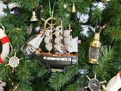 Wooden USS Constitution Model Ship Christmas Tree Ornament from Handcrafted Nautical Decor Elegant Christmas Trees, Nautical Christmas, Christmas Tree Themes, Christmas Scenes, Christmas Tree Ornaments, Christmas Holidays, Holiday Decor, Christmas Ideas, Uss Constitution Model