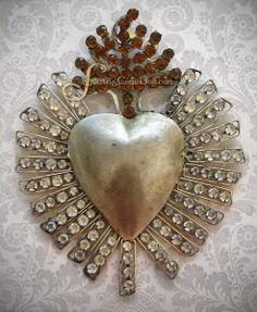 Rhinestone Sacred Heart Giant Reliquary Ex Voto Opens Back Valentines Day I Love Heart, Heart Of Gold, Happy Heart, Memento Mori, Love Symbols, Heart Art, Sacred Heart, Heart Jewelry, Religious Art