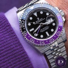 Should Rolex create this model? Rolex GMT-Master II with purple details 👏🏼 Edit and photo by Source Rolex Watches For Men, Luxury Watches, Cool Watches, Men's Watches, Sport Watches, Sport Chic, Swiss Army Watches, Rolex Gmt Master, Hand Watch