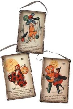 Old Fashion  Halloween Children BB Game with Vintage Post Card Images