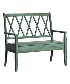 Take a look at this Aqua Cross-Back Storage Bench today!