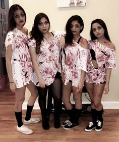 Bloody zombie group Halloween costume women girls creative DIY easy college teen ideas scary makeup last minute friends BFF hot clever homemade cheap original matching