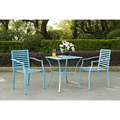 Capri 3-Piece Outdoor Bistro Set, Blue. Outback on patio for staff and clients to enjoy the weather