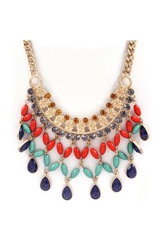 Rosemarie Necklace in Poppy on Navy