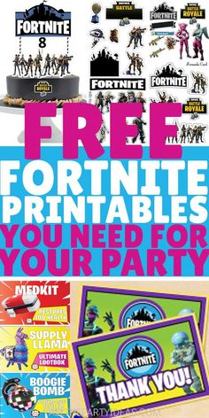 FREE FORTNITE PRINTABLES! DIY wall art poster prints, party decorations, food labels, toppers, favor tags; crafts, activities & more!