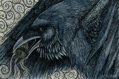 "Raven as Medicine Bird with a Sage Smudge Stick! ""Raven's Blessing"" by SageKorppi I really like this drawing/illustration for its creativity and detail!"