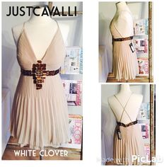Justcavalli Goddess beige Dress Beige authentic NWT evening dress by Cavalli!! True golden globes style! Straps not adjustable. Size 44 European. Considered small but cleavage area definitely requires at least 34b if you are small. Just Cavalli Dresses
