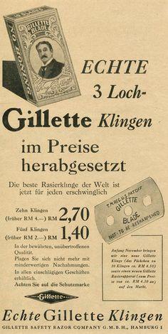 1930 Ad Print Gillette Three Hole Blades for Safety Razors 3 Loch Klingen