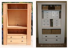 Before and after furniture - Entertainment center as craft cabinet