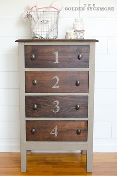 Annie Sloan Chalk Paint in Coco for the body and the numbers and Minwax Dark Walnut stain for the top and drawers. Finished with clear wax. by marian