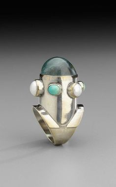 Silver Ring with cabochon aquamarine, pearl, and turquoise, ca 1960-61 by Gerda Flockinger