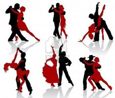 Silhouettes of the pairs dancing ballroom dances. Tango. Stock Photo