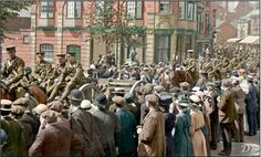 WWI, 13 Sept 1914; Staffordshire Leek 'C' Battery, 231 Brigade, Royal Field Artillery. Color by Doug (@colour_history) | Twitter