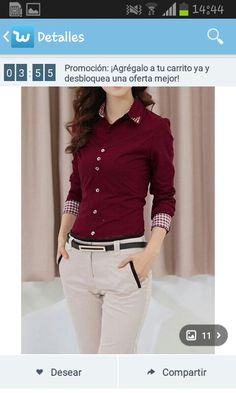 Compra Women Office Lady Career Formal Long Sleeve Revit Studded Collar Button Up Blouse Shirt Top en Wish- Comprar es divertido Ladies Shirts Formal, Formal Blouses, Formal Wear Women, Formal Tops For Women, Streetwear Mode, Streetwear Fashion, Casual Outfits, Fashion Outfits, Work Shirts