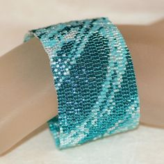 Seafoam Fabric - Shades of Aqua and Turquoise in a Peyote Bracelet / Cuff