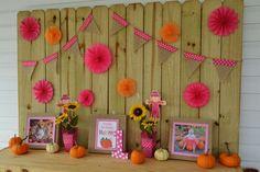 Amanda M's Birthday / Pumpkins / Fall / Birthday - Photo Gallery at Catch My Party Pumpkin Patch Birthday, Pumpkin Patch Party, Pumpkin Birthday Parties, Pumpkin First Birthday, 3rd Birthday Parties, 2nd Birthday, Birthday Ideas, First Birthday Board, Baby Girl Birthday Theme