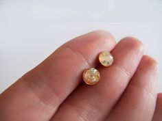 Sparkly Gold Round Sud Earrings by LamFaTiTa on Etsy