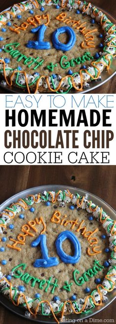 How to make chocolate chip pizza that tastes amazing! Easy Homemade chocolate chip cookie cake recipe that tastes better than store bought. You will love this delicious giant cookie recipe.