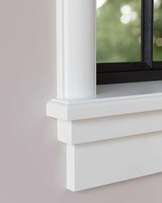 vensterbank-jaren30-wijdeco-detail-hoek-links House Trim, House Design, Window Sill Trim, Apartment Decorating Livingroom, House, Window Trim Exterior, Craftsman Window Trim, Windows Exterior, Window Design
