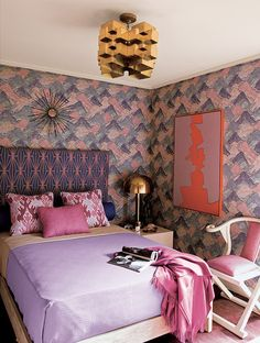 The combination of purple and pink looks modern when incorporated with sophisticated patterns.