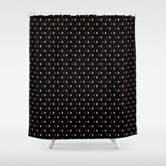 Black, Red and White Print Design Shower Curtain by Celeste Sheffey of Khoncepts - $68.00