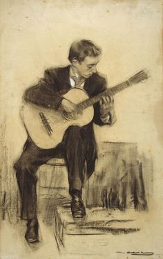 Portrait of Miquel Llobet Ramon Casas y Carbó – circa 1900