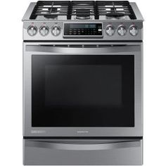 Samsung Chef Collection 30 in. 5.8 cu. ft. Slide-In Gas Range with Self Cleaning Convection Oven in Stainless Steel-NX58H9950WS at The Home ...