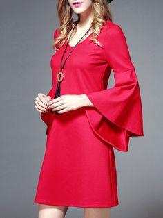 Red Bell Sleeve Elegant Solid V Neck Mini Dress