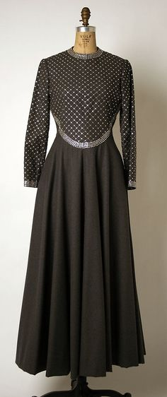 Rhinestone-embellished wool evening dress, by Geoffrey Beene, American, 1960s.