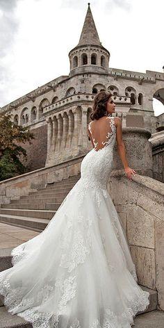 mila nova open back lace mermaid wedding dresses / http://www.himisspuff.com/open-back-wedding-dresses/8/