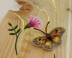 Gatekeeper finished!  Embroidery, gold leaf and gouache on wood  #gatekeeper #silkshading #butterflies #needlepainting