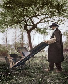 Impressionist painter Camille Pissarro with his mobile easel, c.1895. Colorized by painters-in-color