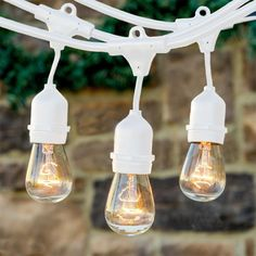 Brightech Ambience Pro Outdoor Weatherproof Commercial String Lights with Hanging Sockets, Includes Incadescent Bulbs, White Vintage String Lights, Starry String Lights, Globe String Lights, Christmas Lights For Sale, Outdoor Christmas Decorations, Outdoor Decor, Landscape Lighting Design, Outdoor Hanging Lights, Decorative Bird Houses