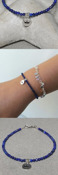 Dainty Lapis Lazuli and sterling silver bracelet with crown charm hanging.   Lapis Lazuli Bracelet, Sterling Silver Bracelet, Dainty Blue Gemstone Bracelet, Silver Crown Charm, Gift For Her, Healing Bracelet Birthday Gifts For Best Friend, Gifts For Mom, Lapis Lazuli Bracelet, Blue Gemstones, Healing Bracelets, Birthstone Jewelry, Holiday Fashion, Bohemian Jewelry, Shopping Mall