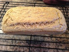 """THM Bread in a """"Mug"""" in a Loaf in the Oven:) - S 6 Eggs ¾ Cup Ground Flax ¾ Cup Almond Flour 1 TBS Baking Powder 1 tsp Salt 2 TBS Coconut Oil Butter for Pan Turn oven 350. Put eggs in large mixing bowl, mix with hand mixer. Dump in all ingredients and mix. Grease regular size bread loaf pan with LOTS of butter. Pour dough into pan. Bake 350 for 25 minutes (or until golden brown, don't over bake though). Place on cooling rack until completely cooled. Store in a ziplock in the fridge."""
