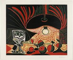 pablo picasso - still life with glass under the lamp, 1967