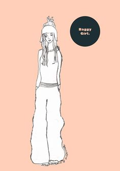 """Over the weekend, to get out of the heat, I've been playing around on some new programmes I've got, uploading artwork I've worked on in the past to add a dash of colour. This is an illustration I did some time ago called """"Baggy Girl"""". I think the salmon background …"""